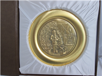 The Continental Mint, Inc. 1976 Christmas Plate, 8 inches, Norman Rockwell  (Gold-Plated Pewter)