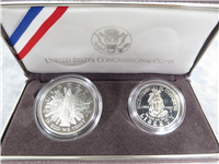 1989S US Congressional 200th Anniversary Silver Dollar & Half Dollar Proofs with Box & COA   (US Mint, 1989)