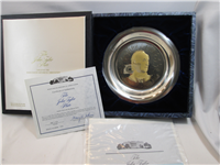 White House Historical John Tyler Presidential Sterling Silver Plate  (Franklin Mint, 1974)