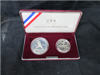 Olympic 2-Coin Silver Proof Set in Box with COA (US Mint, 1992S)