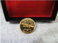 50th Anniversary Lindbergh First Solo Transatlantic Flight 14 KT Gold Medal (Danbury Mint, 1977)