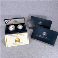 Columbus Quincentenary Silver Dollar + Half Dollar 2-Coin Proof Set + Box + COA (US Mint, 1992)
