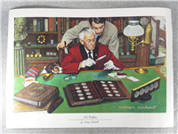 """Norman Rockwell """"THE COLLECTOR"""" Print on Canvas (Franklin Mint, 1973)"""