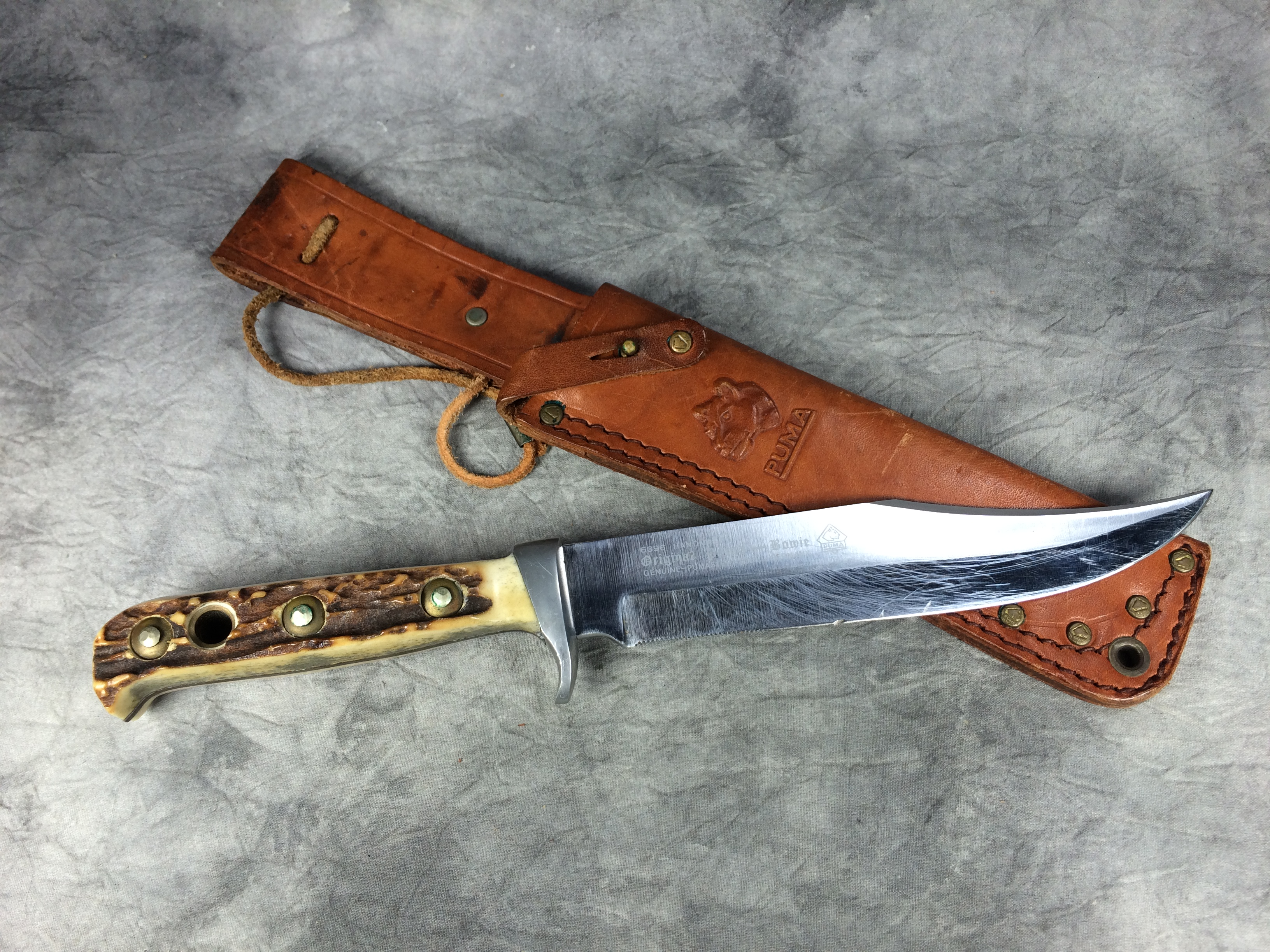 Vintage PUMA 6396 Stag Fixed Blade Bowie Knife Current