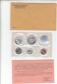1963 US Mint Proof Set in Envelope (5 coins)