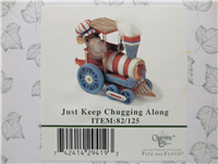 JUST KEEP CHUGGING ALONG 3-1/2 inch Patriotic Mouse on Train Figurine (Charming Tails, Fitz and Floyd, 82/125, 2005)
