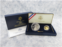 2002 US MINT Salt Lake Olympic Winter Games Silver 2-Coin Set Gold $5 & Silver $1 Proofs + Box & COA