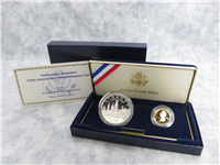 1996 Smithsonian Institution 150th Anniversary 2 Coin Silver & Gold Proof Set w/ Box & COA