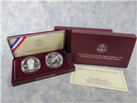 ATLANTA CENTENNIAL OLYMPIC GAMES Two-Coin 90% Silver Dollar Proof Set in Box with COA  (US Mint, 1995-P)