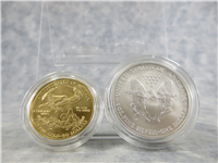 American Eagle 20th Anniversary Gold & Silver Uncirculated 1 Oz. Coins Set in Box with COA (US Mint, 2006-W)