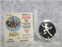 Disney Around The World PETER PAN 1 Ounce .999 Fine Silver Proof Medal (Rarities Mint, 1988)