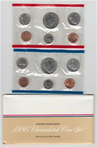 USA  10 Coins Uncirculated Mint Set  (US Mint, 1986)