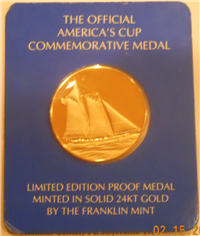 The America's Cup Gold Medal  (Franklin Mint, 1977)