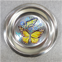 Butterflies of the World NORTH AMERICA Limoges Enamel on Sterling Silver 8 inch Plate (Franklin Mint, 1977)