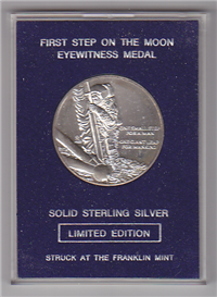 The First Step on the Moon Eyewitness Medal (Franklin Mint, 1969)