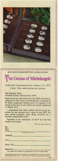 The Genius of Michelangelo Medals Collection  (Franklin Mint, 1970)