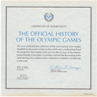 Franklin Mint  The Official History of the Olympics Games Medals (24KT Gold)