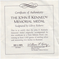Franklin Mint  John F. Kennedy Memorial Medal (Sterling)