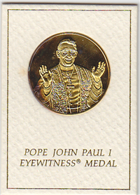 Franklin Mint  Pope John Paul I Eyewitness Medal (24KT GP)