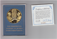 Franklin Mint  President Nixon's Journey For Peace to Russia Eyewitness Medal (Gold-plated)