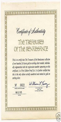 The Treasures of the Renaissance Medals Collection  (Franklin Mint, 1975)