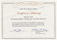 United States Bankmarked Bank Ingots Collection  (Franklin Mint)