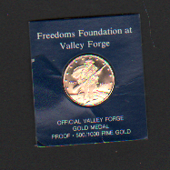 The Freedoms Foundation Official Valley Forge Gold Medal  (Franklin Mint, 1975)