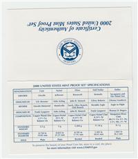 10 Coins 50 State Quarters Proof Set  (US Mint, 2000)