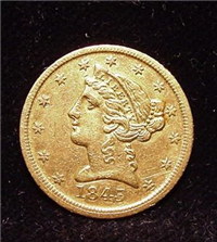 USA 1845D  $5 Gold Liberty Head