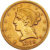 USA 1869S  $5 Gold Liberty Head