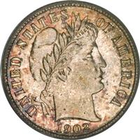 USA 1902  Barber Dime