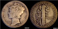 USA 1918D  Mercury Dime