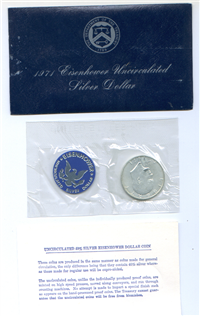 USA   Blue Envelope Eisenhower Uncirculated Silver Dollar  (U.S. Mint, 1971)