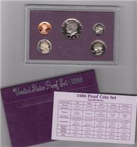 USA  5 Coins Proof Set  (U.S. Mint, 1986)