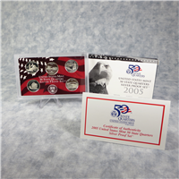 5 Coins 50 State Quarters Silver Proof Set   (US Mint, 2005)
