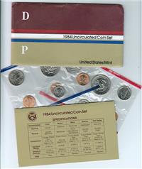 USA  10 Coins Uncirculated Mint Set  (US Mint, 1984)