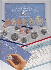 USA 1991  US Mint Uncirculated Coin Set with D and P Mint Marks    (10 coins)