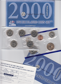 10 Coin Uncirculated Set 50 State Quarters Philadelphia (US Mint, 2000)