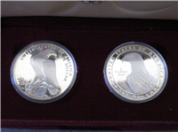 2 Coins Olympic 90% Silver Dollar Proof Set in Box with COA    (US Mint, 1983, 1984)