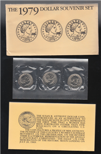 Susan B. Anthony Dollar 3 Coin Souvenir Set  (U.S. Mint, 1979)