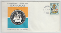 Bahamas Independence Day July 10, 1973 Commemorative $10 Coin and Cachet  (Franklin Mint, 1973)