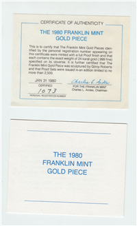 The 1979 Franklin Mint Gold Piece Proof Set   (Franklin Mint, 1979)
